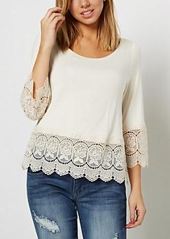 Ivory Bohemian Crochet Trim Shirt
