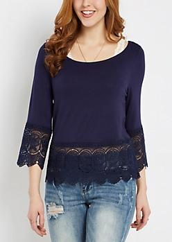 Navy Bohemian Crochet Trim Shirt