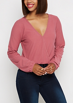 Pink Surplice Crop Top