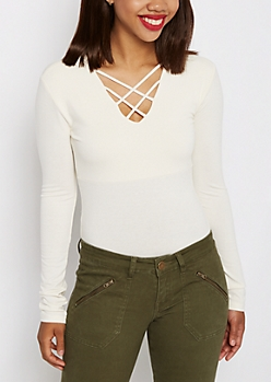 Ivory Lattice Long Sleeve Bodysuit