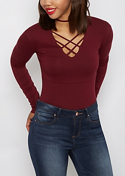 Dark Red Lattice Long Sleeve Bodysuit
