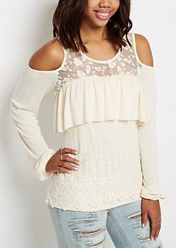 Ivory Lace Cold Shoulder Shirt