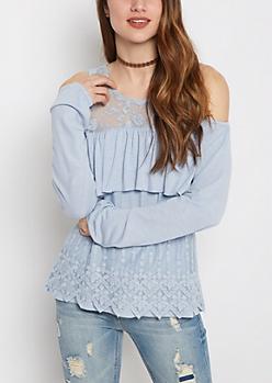 Light Blue Lace Cold Shoulder Shirt