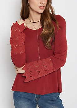 Red Crochet Sleeve Top