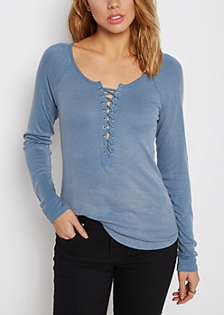 Lace-Up Ribbed Shirttail Top
