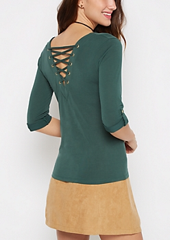 Dark Green Lattice Back Shirt