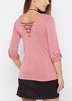 Pink Lattice Back Shirt