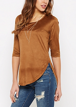 Tan Mock Suede Shirttail Tee & Spike Necklace