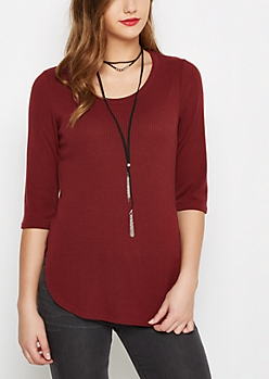 Burgundy Ribbed Shirttail Sweater & Necklace