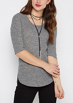 Marled Black Ribbed Shirttail Sweater & Necklace