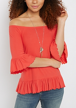 Coral Ruffled Off-Shoulder Top