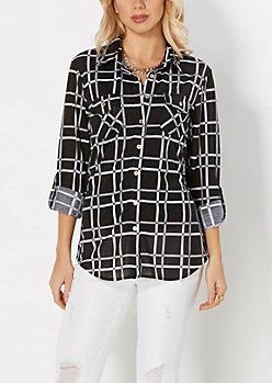 White Windowpane Check Button Down