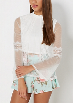 Ivory Victorian Lace Crop Top