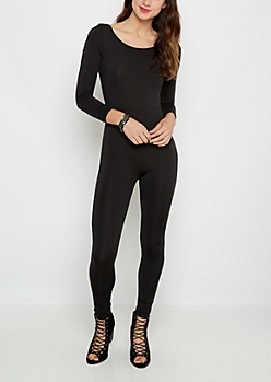 Black Scoop Neck Unitard