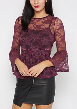 Plum Lace Peasant Top