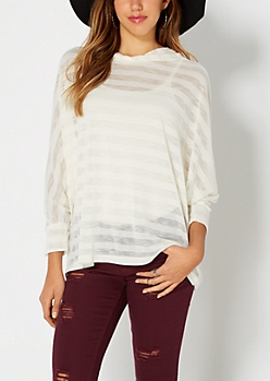 Ivory Shadow Striped Poncho