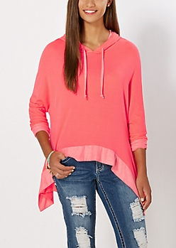 Neon Orange Static High-Low Hoodie