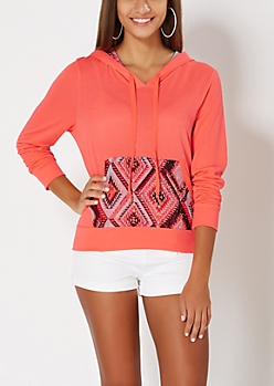 Neon Orange Tribal Hoodie