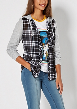 Black Knit Plaid Hoodie