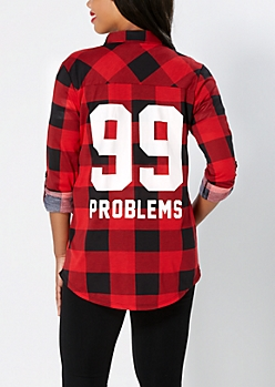 Red Printed Plaid Button Down
