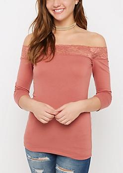 Pink Lacy Off-Shoulder Top