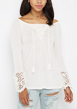 Ivory Lattice Lace Bell Sleeve Top