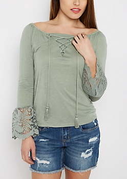 Green Lattice Lace Bell Sleeve Top
