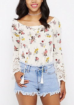 Floral Lattice Lace Bell Sleeve Top