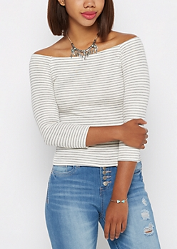 Gray & White Striped Off Shoulder Top