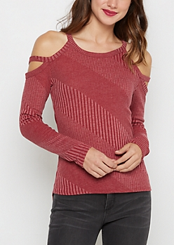 Burgundy Diagonal Ribbed Cold Shoulder Top