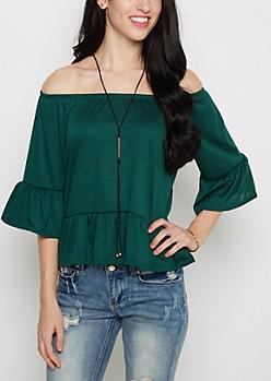 Green Ruffled Off Shoulder Top & Necklace Set