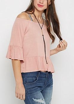 Pink Ruffled Off Shoulder Top & Necklace Set