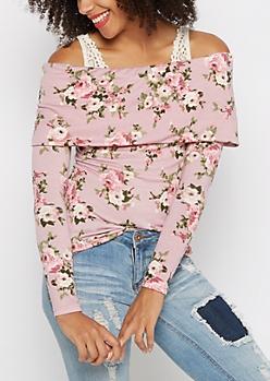 Pink Rose Off-Shoulder Shirt