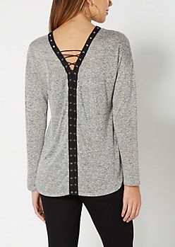 Gray Marled Lace-Up Top
