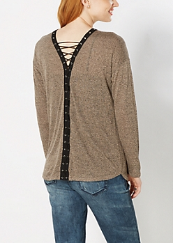 Taupe Marled Lace-Up Top