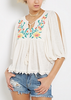 Embroidered Peasant Top by Clover + Scout