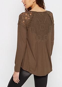 Olive Lace Shoulder Long Sleeve Top