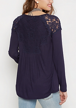 Navy Lace Shoulder Long Sleeve Top