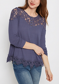 Blue Lace Henley by Clover + Scout
