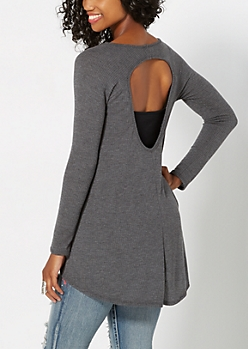 Charcoal Gray Keyhole Thermal Top
