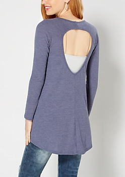 Heather Blue Keyhole Thermal Top