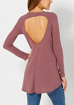 Heather Burgundy Keyhole Thermal Top