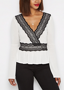 White Lace Trim Flounced Babydoll Top