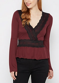 Burgundy Lace Trim Flounced Babydoll Top