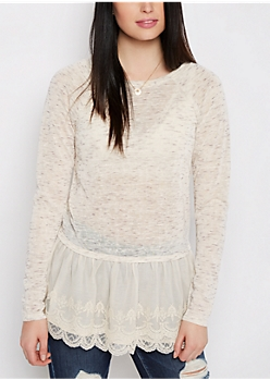 Space Dye Lace Peplum Top