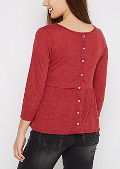 Burgundy Button Back Peplum Top
