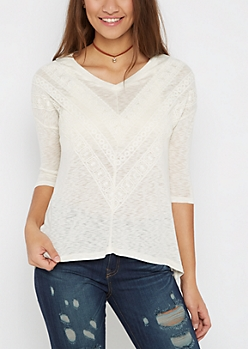 White Crochet Sharkbite Top by Sadie Robertson x Wild Blue