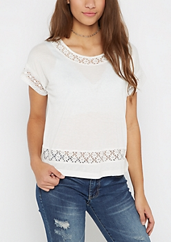 White Lace Dolman Top by Sadie Robertson x Wild Blue
