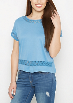 Blue Lace Dolman Top by Sadie Robertson x Wild Blue