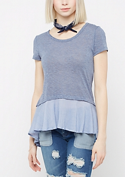 Layered Peplum Tee By Sadie Robertson X Wild Blue